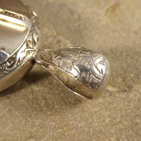 Antique Late Victorian Engraved Silver Locket Pendant