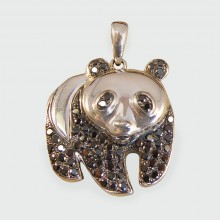 SOLD Contemporary 18ct White Gold Panda Pendant set with Black Diamonds