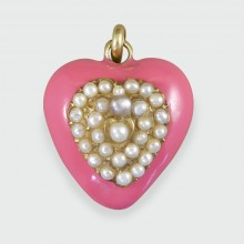 SOLD Pink Enamel Edwardian Heart Pendant with Seed Pearls in 15ct Yellow Gold