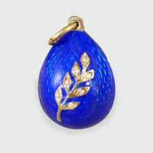 Blue Enamel Vintage Russian Egg Pendant in Silver Gilt