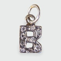 Antique Edwardian B Diamond set Pendant in 18ct White Gold