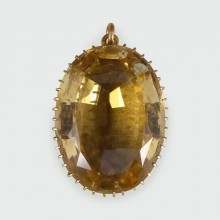 Antique Late Victorian 45ct Citrene Pendant in 14ct Yellow Gold