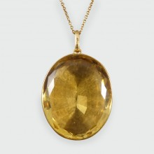 SOLD Large Edwardian 110ct Oval Citrene Pendant on Antique 9ct Gold Chain