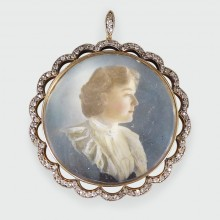Superb Quality Late Victorian Diamond set Portrait Pendant in Silver and Gold
