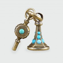 SOLD Victorian Amethyst and Turquoise Fob and Watch Key Pendant in 9ct Gold