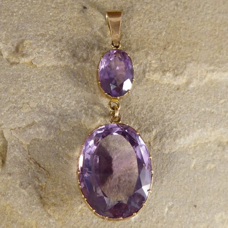 SOLD Victorian Amethyst Drop pendant in Yellow Gold