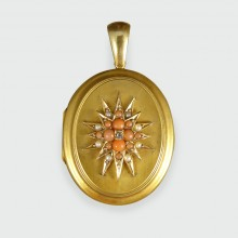 Pearl Coral and Diamond Late Victorian Locket in 15ct Yellow Gold