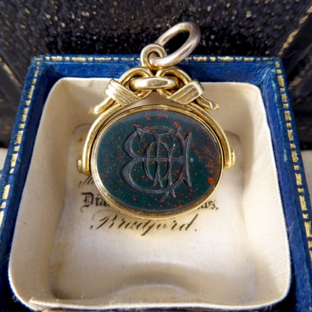 Antique Victorian Engraved Bloodstone and Carnelian Wax Seal Fob