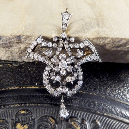 Antique Late Victorian 3.50ct Diamond Total Drop Pendant and Brooch Gold Back Silver Front