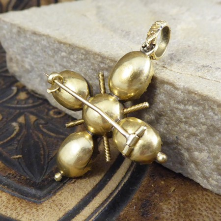 Antique Quality Georgian Foiled Back Paste Cross Pendant in High Carat Gold