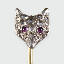 SOLD Antique Edwardian Ruby and Diamond Fox Head Gold and Silver Pin