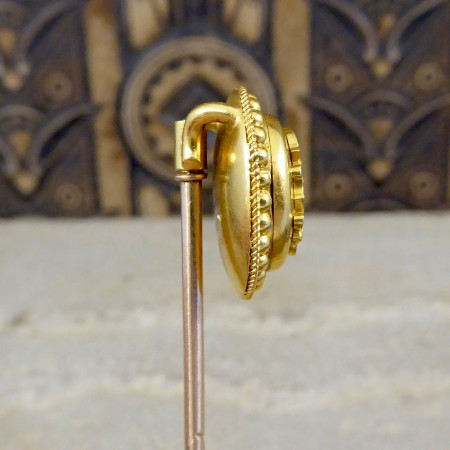 Antique Late Victorian High Carat Yellow Gold Monogram Pin