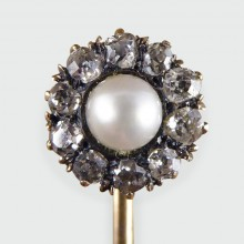 SOLD Antique Pearl and Diamond Flower Cluster Gold Pin