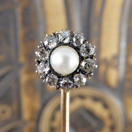 Antique Pearl and Diamond Flower Cluster Gold Pin