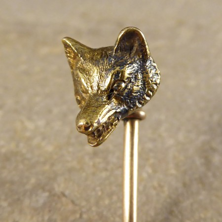 SOLD Antique Edwardian Fox Head Gold Pin