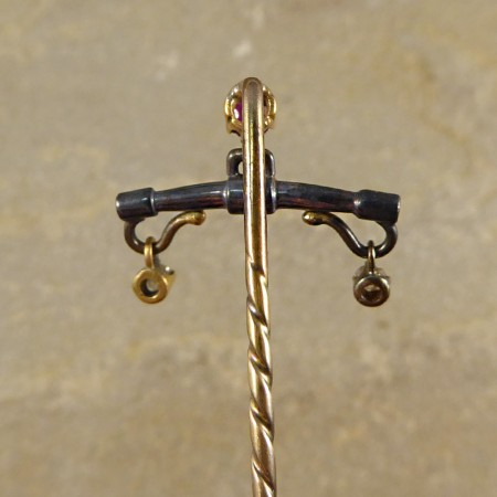 Antique Edwardian Ruby and Diamond Gold Pin