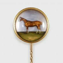 SOLD Late Victorian Essex Crystal Painted Horse Pin in Gold