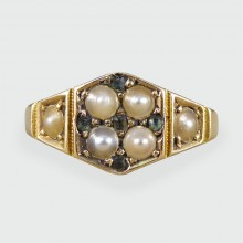 SOLD Antique Victorian Pearl and Green Stone Hexagon Ring in 15ct Gold