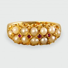 Victorian Two Row Pearl and Ruby set Ring in 18ct gold