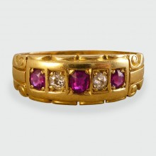 SOLD Late Victorian Ring set with alternating Rubies and Diamonds
