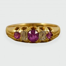 Late Victorian Five Stone Ruby and Diamond Ring set in 18ct Gold