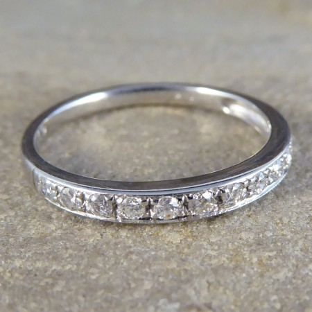 SOLD Contemporary Diamond Half Eternity Ring in 14ct White Gold