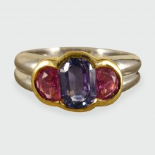 SOLD Contemporary Pink and Blue Sapphire Ring set in Platinum and 18ct Gold