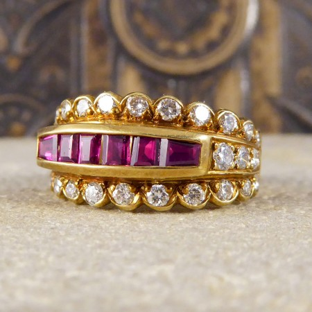 Contemporary Ruby and Diamond Three Row Ring in 18ct Gold