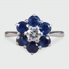 SOLD Graff Sapphire and Diamond Flower Cluster Ring in 18ct White Gold