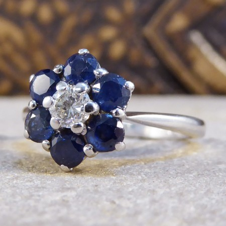Graff Sapphire And Diamond Flower Cluster Ring In 18ct