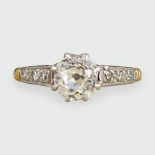 SOLD Edwardian Diamond Solitaire Engagement Ring in 18ct Gold and Platinum