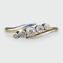 SOLD Antique Edwardian Five Stone Diamond Twist Ring in 18ct Gold and Platinum
