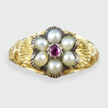 SOLD Early Victorian Ruby and Pearl Flower Cluster Ring in 15ct Gold
