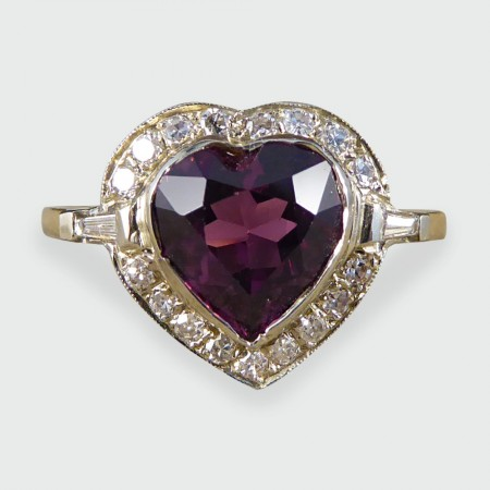 Vintage Garnet and Diamond Heart Cluster Ring in 18ct Gold