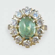 SOLD Vintage Cabochon Emerald and Diamond Cluster Ring in 18ct Gold and Platinum