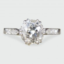 SOLD 1920s Art Deco 1.09ct Diamond Solitaire Engagement Ring in 18ct White Gold