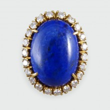 Vintage Large Lapis Lazuli and Diamond Ring in 18ct Gold