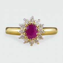 SOLD Contemporary Ruby and Diamond Flower Cluster Ring in 18ct Gold