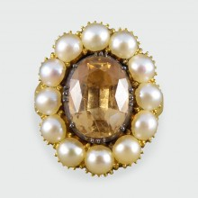 SOLD Antique Mid Victorian Orange Topaz and Pearl 18ct Gold Ring