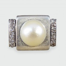SOLD French 1950s Diamond and Pearl Silver Ring