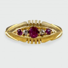 SOLD Late Victorian Ruby and Diamond Five Stone Ring in 18ct Gold
