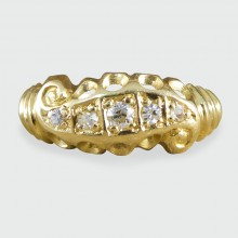 SOLD Antique Late Victorian Diamond Five Stone Ring in 18ct Gold
