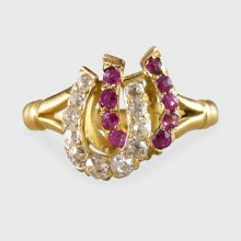 Antique Edwardian Ruby and Diamond Double Horseshoe Ring in 18ct Gold