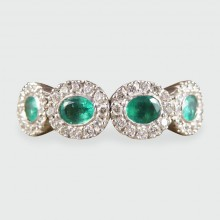 ON HOLD Contemporary Emerald and Diamond Four Stone Ring in 18ct Gold