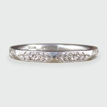 SOLD Antique Edwardian Engraved Platinum Band
