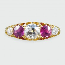 SOLD Antique Victorian Ruby and Diamond Five Stone Ring in 18ct Gold