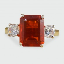 SOLD Contemporary Fire Opal and Diamond Three Stone Ring in 18ct Gold