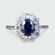 SOLD Sapphire and Diamond Cluster Engagement Ring in 18ct White Gold
