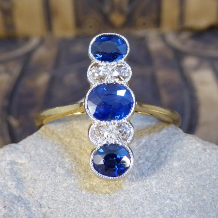 Antique Edwardian Sapphire and Diamond Vertical Seven Stone Ring