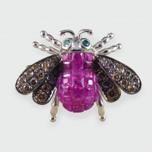 Contemporary Ruby Diamond and Emerald set Bee Ring in 18ct White Gold